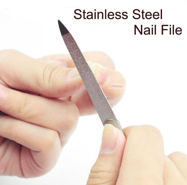 Wholesale- 1pc Stainless Steel Nail File Double Side Grinding Nail art Files Rod Buffer Manicure Pedicure Scrub sand Tools