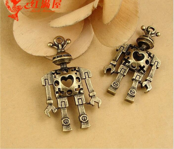 46*24MM Zinc alloy retro brass bronze robot charm, necklace pendant handmade DIY metal mobile phone jewelry accessories materials wholesale