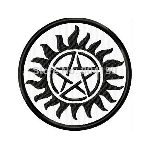 "3"" Supernatural Anti-Possession Tattoo MC JACKET BACK EMBROIDERED PATCH EMBLEM Biker Vest punk rockabilly iron on patch"
