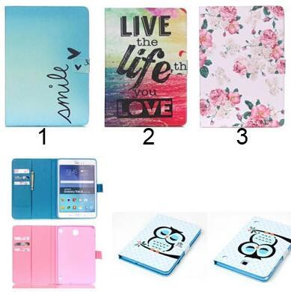 Fashion Owl Flower Eiffel Tower Pattern PU Leather Wallet Flip Magnetic Case For Samsung Galaxy Tab A 8.0 T350 Tab A 9.7 T550
