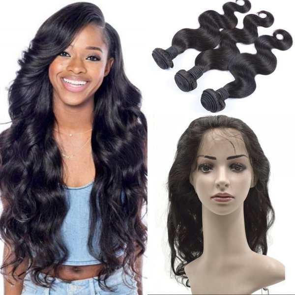 Vietnamese Virgin Hair Weft with 360 Lace Frontal Pre Plucked Body Wave 360 Lace Frontal with Human Hair 4 Bundles FDSHINE HAIR