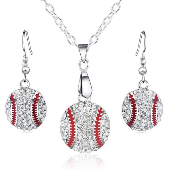best selling Crystal Baseball Pendant Earrings Necklace Jewelry Sets Fashion Sports Jewelry Best Friend Gift For Team Club Base Ball Lovers