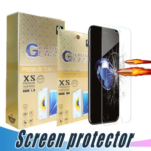 Film de protection d'écran en verre trempé incassable 9H 2.5D pour iPhone 11 max professionnel XR XS MAX 6 6S 7 8 Plus avec boîte en papier