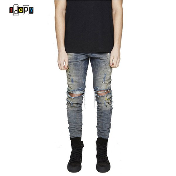 Wholesale- Urban Cool Mens Personality Print Jeans Slim Fit Skinny Destroyed Distressed Knee Ripped Jeans With Holes For Men