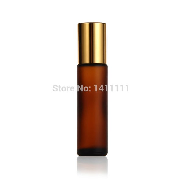 Frosted 10ml 1/3OZ Thick Amber Brown Glass Roll On Essential Oils Bottle Fragrances + Metal Roller Ball - Gold cap 700pcs/lot