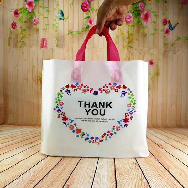 50pcs sacs-cadeaux en plastique sourire merci couleur Fleur Imprimé Coeur forme Transparent Pochettes en plastique transparent pour bijoux Vêtements cadeau