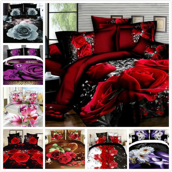 top popular Wholesale-New 2017 Bedclothes 3D Duvet Cover Set 4PCS Bedding Set Queen Size Comforter Cover Set(1 PCS Bed sheet 1PCS Comforter Cover 2 PCS 2021