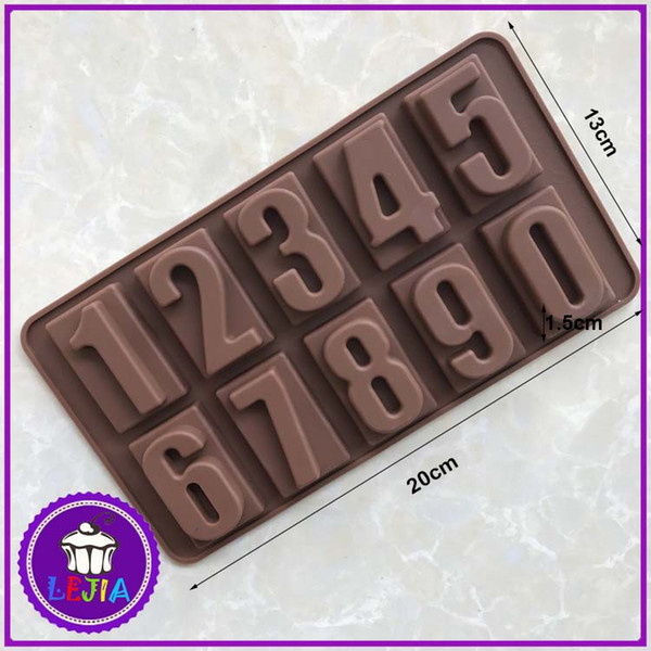 Arabic numerals shape 10 holes Silicone Mold Cake Decoration tools Food Grade cake soap chocolate Moulds baking bakeware