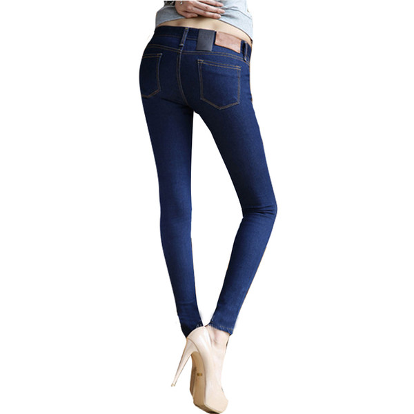Großhandelsfrauen-dünne Bleistift-Jeans-Hosen-feste blaue / schwarze Reißverschluss-große elastische dünne Jeans-lange Hose
