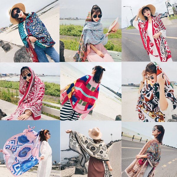 top popular 20 Colors Ethnic Style Cotton Linen Scarf Woman Summer Seaside Travel Super Large Sunscreen Beach Scarf Wholesale Free Shipping Shawl 2019