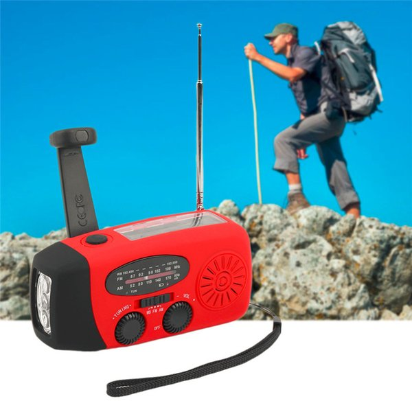 High End LED Flashlight 3 in 1 Emergency Charger Hand Crank Generator Wind Solar Hand Crank Dynamo Powered FM/AM Radio Phones Chargers