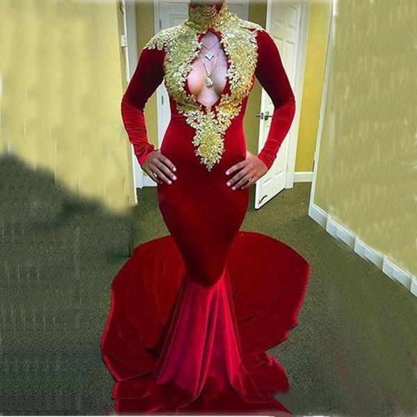 2017 Rouge Velvet Or Dentelle Appliues Col Haut Sirène Soirée Celebrity Robes Manches Longues De Bal Robes De Soirée Sexy Keyhole Tapis Rouge Robe