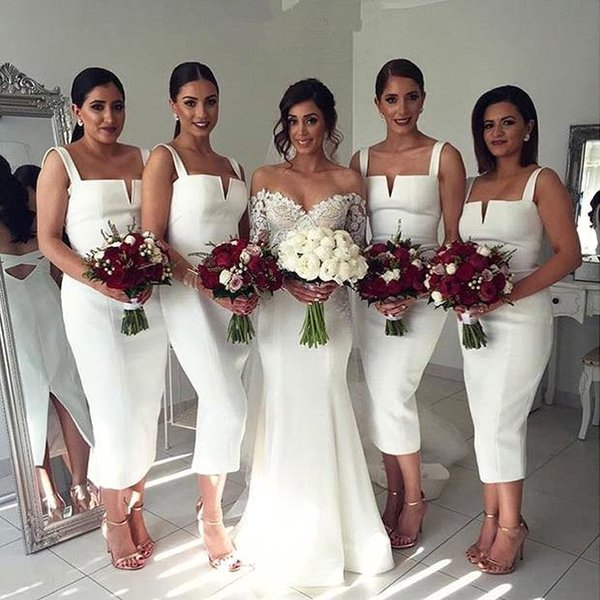 2017 Bodice Tea Length White Bridesmaid Dresses Spaghetti Straps Sheath Short Maid Of Honor Party Gowns BA4494 Under 100