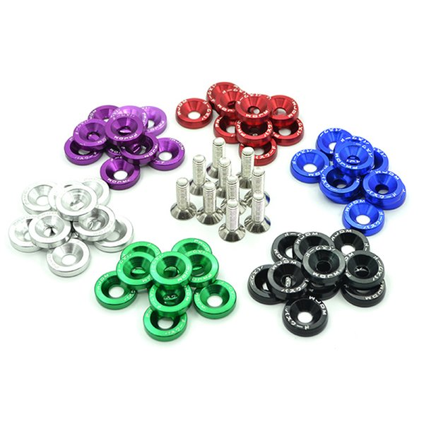 10PCS M6x20 Car Styling Universal Modification JDM Sticker 3D Stickers Decals Fender Washer License Plate Bolts Auto Accessories