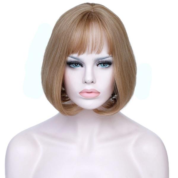 Short Blonde Bob Hair Wig Women Heat Resistant