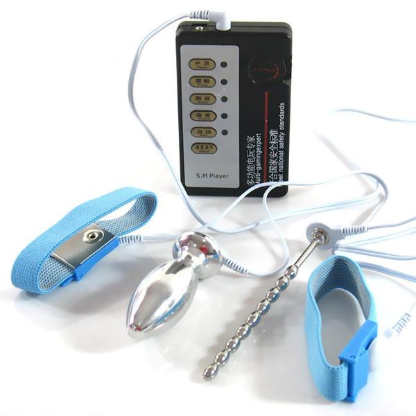 Stromschlag Ovaler Analplug + 2 Penisringe + Harnröhrenplug Startseite Medizinisches Spielzeug Puls Physiotherapie Spielzeug I9-1-73N