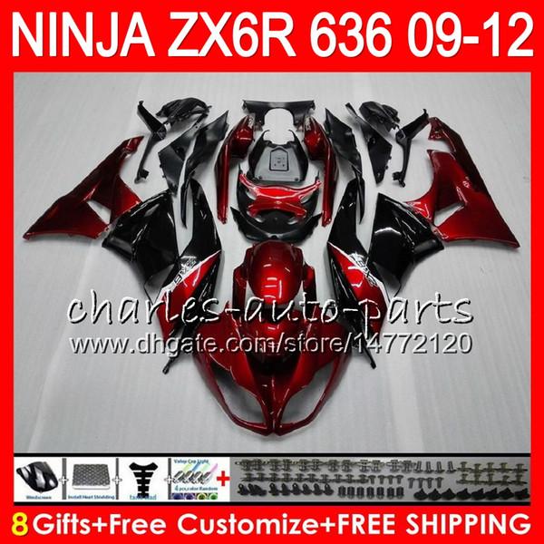 8Gifts 23Colors For KAWASAKI NINJA ZX636 ZX6R 09 10 11 12 600CC 25NO2 ZX 636 ZX 6R TOP Drak red ZX-636 ZX-6R 2009 2010 2011 2012 Fairing kit