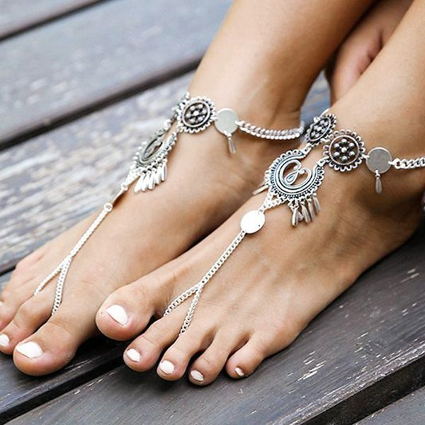 Women Boho Ethnic Hollow Flower Tassel Anklets Toe Ring Water Drop Sequins Tassel Foot Chain Ankle Body Jewelry Anklets