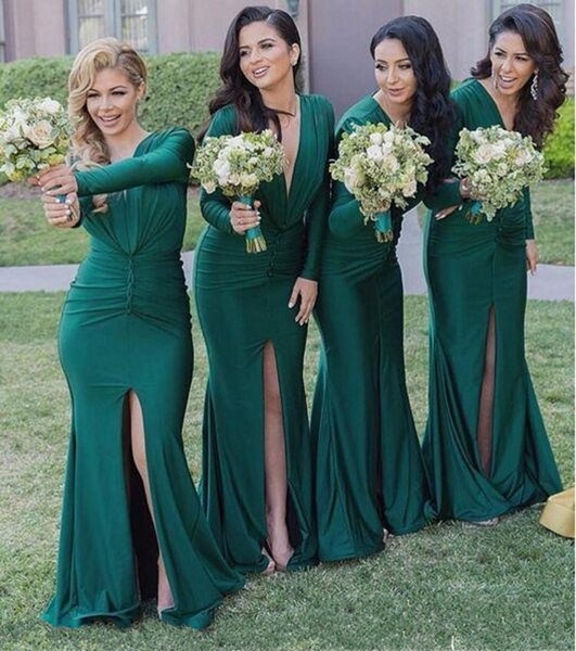 Sexy Green Long Bridesmaid Dresses Deep V Neck Long Sleeves Sweep Train Custom Made Maid Of Honor Wedding Party Guest Gowns