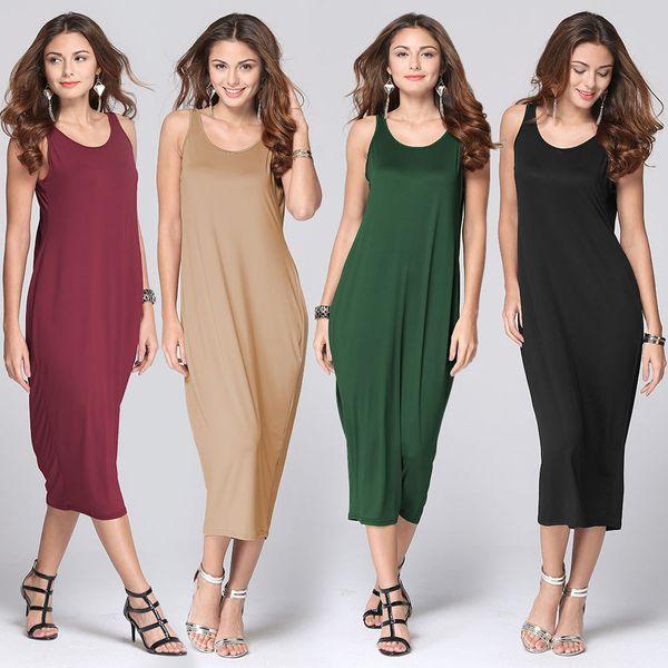 Pure Casual Long Dress Vintage Summer Dress Halter Pleated Sleeveless Loose Elegant Ladies Clothing Top 2017