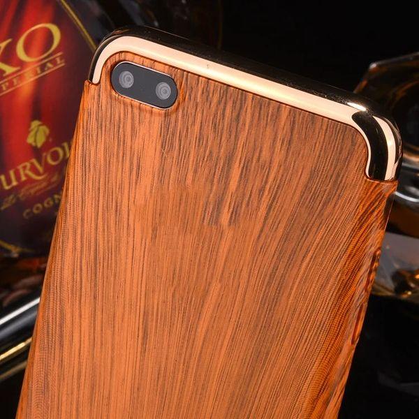 Galvanoplastia de grãos de madeira 3 em 1 caso protetor de celular galvanizado chapeamento tampa traseira para iphone 6 plus 7 plus 50 pcs