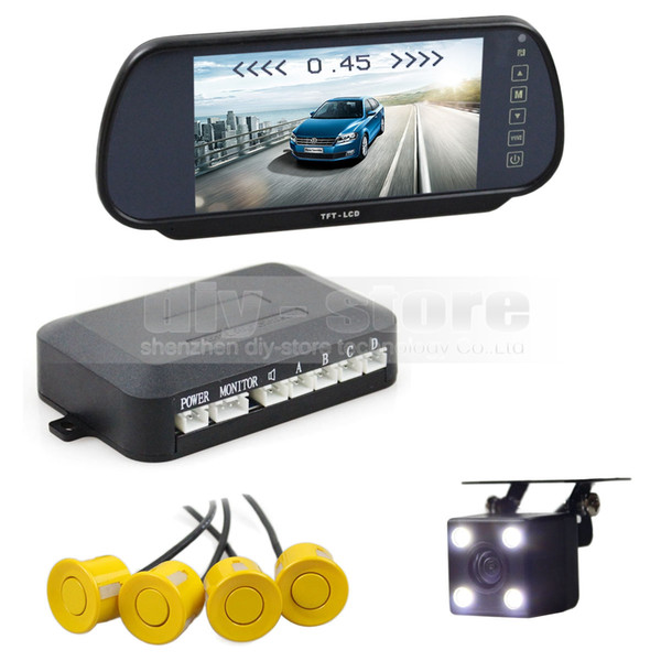 Video Parking Radar 4 Sensors + 7 inch Build-in LCD Display Mirror Car Monitor + LED Color Night Vision Rear View Camera
