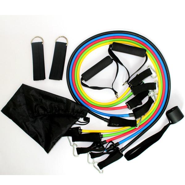 Resistencia al látex ejercicio banda cuerdas entrenamiento ABS tubo conjunto gimnasio yoga goma deportes al aire libre equipos de fitness suministros 11 unids / set