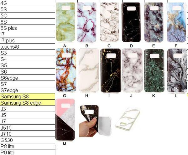 Custodia rigida in TPU IMD in marmo roccia per Galaxy S8 / Edge / S7 / Edge / S6 / Grand Prime G530 / J5 / J7 / J3 J310 / J510 / J710 / S5 Pietra Gel Cover Cover in silicone