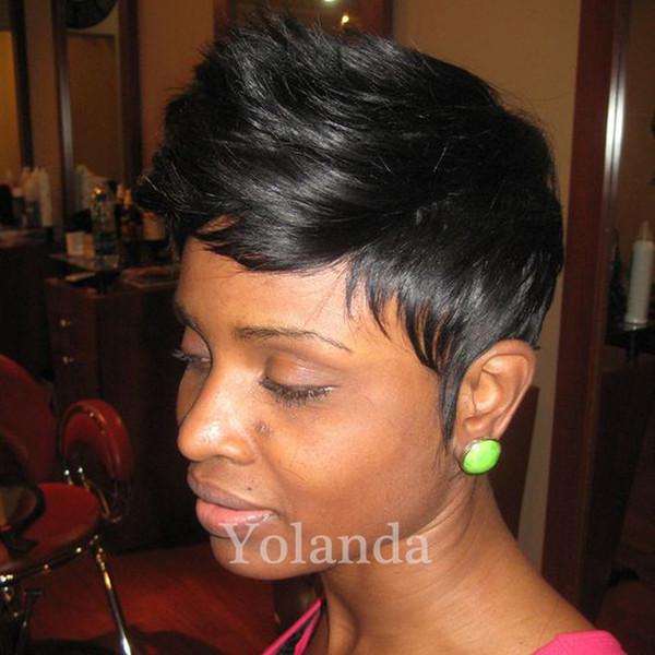 Cheap Brazilian hair New natural hair wigs glueless bob none lace wigs 100 human hair pixie cut wigs for black women