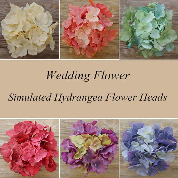 15 UNIDS / LOTE DIY cabeza de flor artificial de la hortensia de seda sola flor grande decoración DIY casera de la boda hecha a mano decoración de la ventana retro