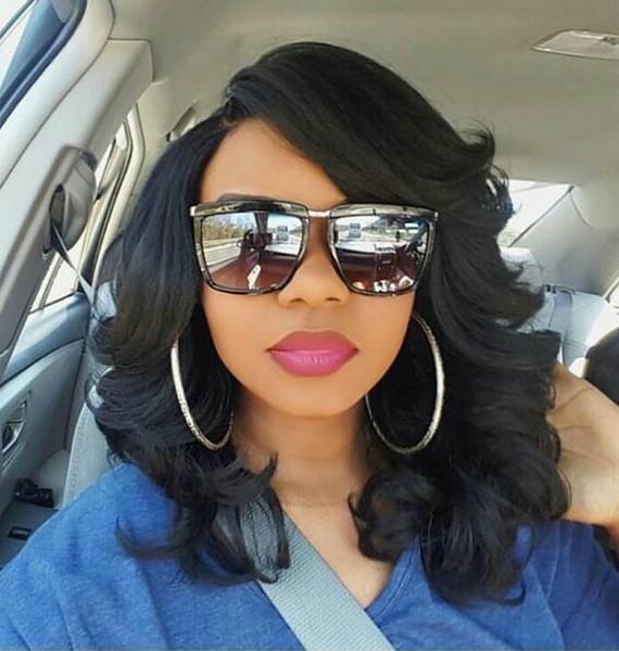 7А 250% высокой плотности бразильский волнистые боб парик кружева фронт парики человеческих волос для чернокожих женщин с волосами младенца короткие парики человеческих волос