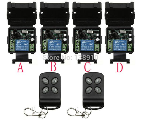 Großhandels-DC12V 10A 1 ch RF drahtloser Fernsteuerungsschalter 4 Empfänger +2 Übermittler mit 4 Knöpfen Licht / Lampe / Fenster / Garagentore