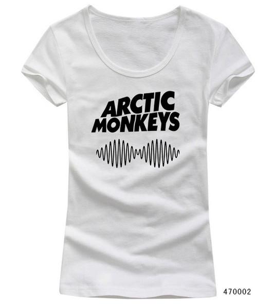 Atacado-Personalizado Padrão Personalizado Rock Band Arctic Macacos Mulheres Camisetas Scoop Pescoço Manga Curta Sexy Girl Feminino camisetas Casual