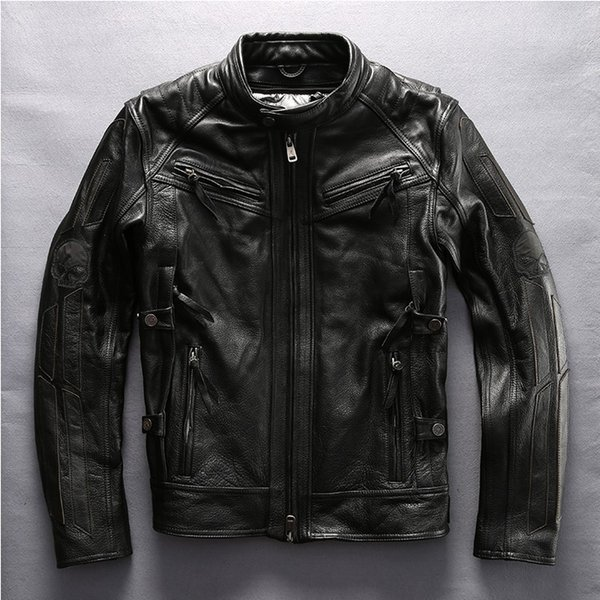 Biker Mantel In Lederjacke Leder Road Großhandel Angel Echtes Schädel Herren 3 Jacke Patch Warrior 1 Von Motorradjacke Harley Qsthrd