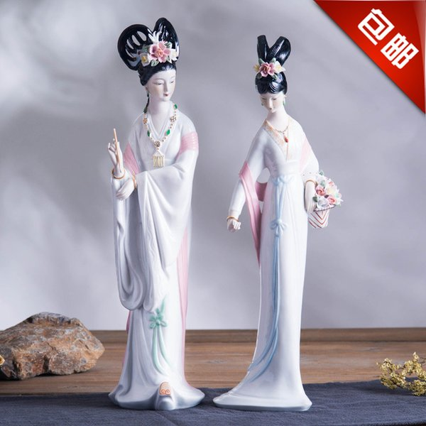 Ancient Chinese people ladies ornaments creative ceramic crafts Home Furnishing entrance TV cabinet ornament