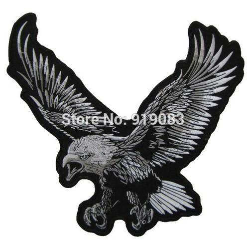 "11"" XXL Flying Bald Eagle Motorcycle Biker Patch Bike Motorcycle MC Vest Embroidered Sew On Iron On Badge Leather Jacket Back"