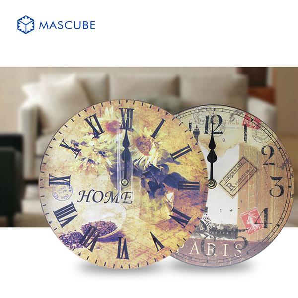 Wholesale Mascube 2016 Hot 8 Models Disc Wall Clocks Retro Wooden Silent Vintage Home Decor