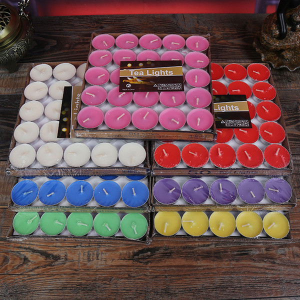 Scented Candle Hosley's Set of 50 Tea Light Candles 7 Fragrance Option Tealights Parties XL-352