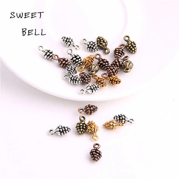 SWEET BELL Min order 80PCS 5*7*13mm four color Zinc Alloy 3D pine cone charm for diy jewelry making charms D6135