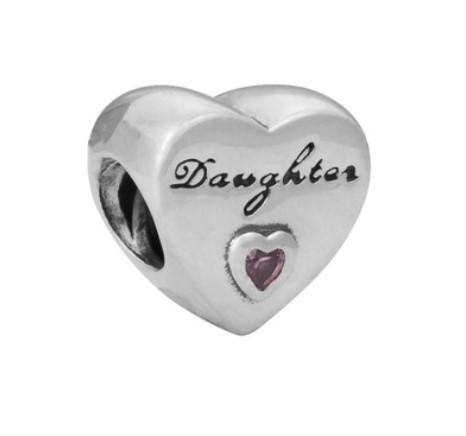 Fits Pandora Bracelets 30pcs Daughter Heart Silver Charm Bead Loose Beads For Wholesale Diy European Sterling Necklace Jewelry Xmas