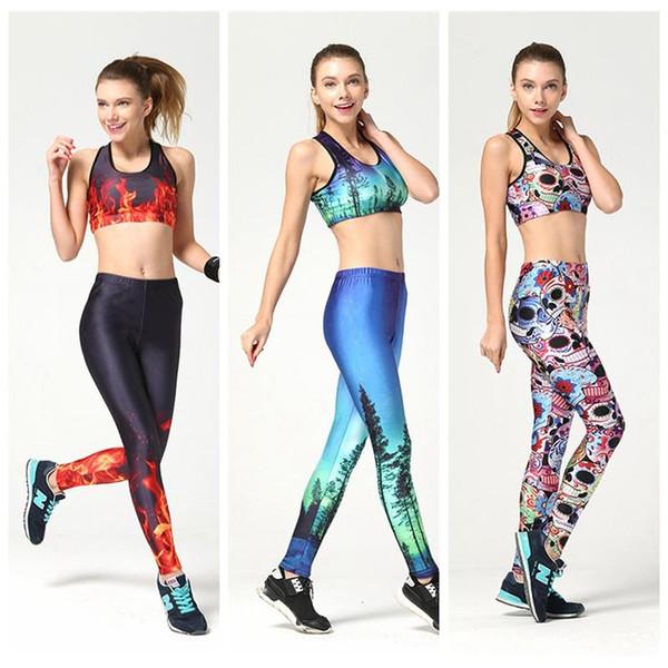 Mulheres sexy esportes yoga suit magro macacão elástico de alta jogging sportswear ginásio 3d impressão respirável apertado europa conjuntos de treinamento em execução