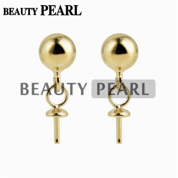 10 Pairs Wholesale Gold Vermeil 925 Sterling Silver Post Stud Earrings Findings 5mm Ball Dot Earrings Components