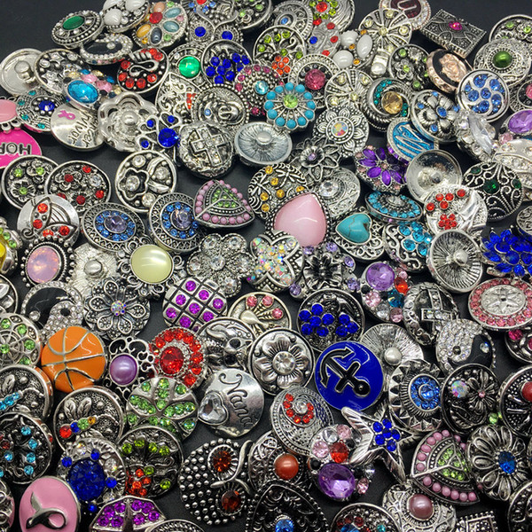 top popular Wholesale 50pcs Lot Mix Style 18MM Snap Cham Button Interchangeable Diy Ginger Snap Jewelry Fit Snap Charm Bracelets Pendant Ring Etc 2019
