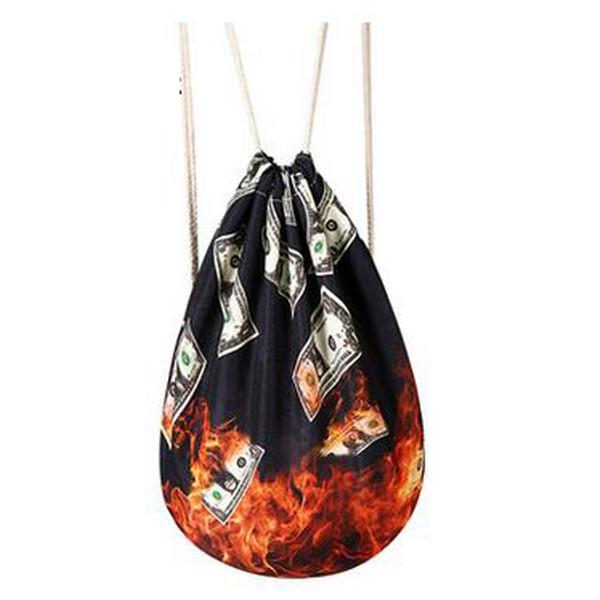 Women Fabric Backpack Female Gypsy Bohemian Boho Chic Aztec Ibiza Tribal Ethnic Ibiza Brown Drawstring Rucksack Bags J103