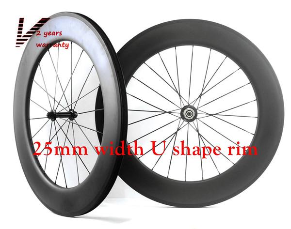 Velosa Outlet,Full carbon 88mm road bike wheelset, 88mm clincher/tubular ,700C road bike carbon wheel 25mm width U shape rim free shipping