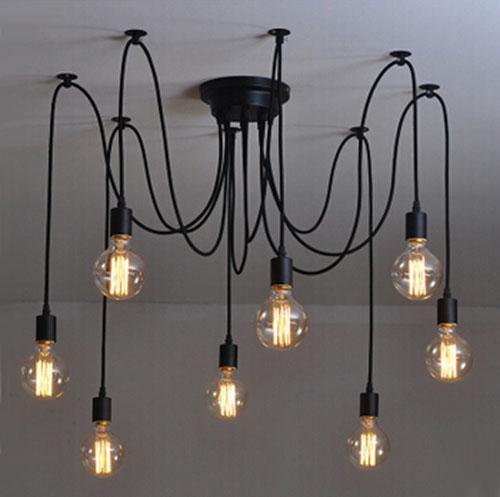 Modern net Retro classic chandelier 8 E27 spider lamp pendant bulb holder group Edison diy lighting lamps messenger wire