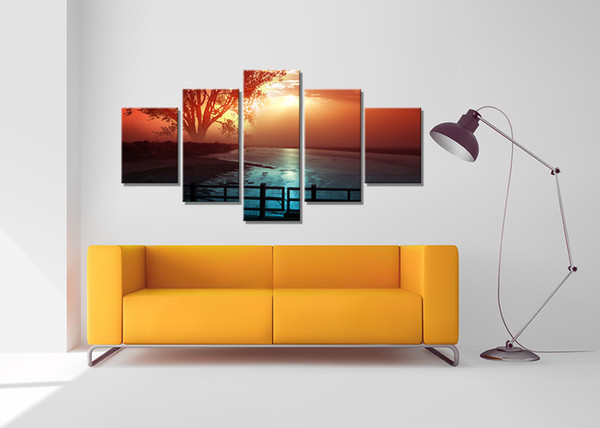 5 PCS Sunset Bridge Seascape Giclee Printing On Canvas For Living Room Cafe Home Decor Wall Art Picture Wholesale Decoration