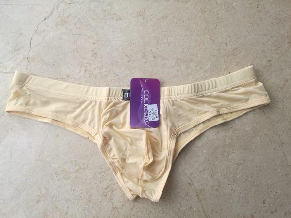 Gros COCKCON Hommes Sous-Vêtements Transparent Slips Ultra Mince Slip De Soie Glacée Low-Rise Male Sexy Pants 812