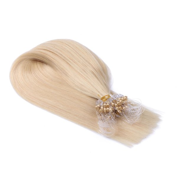 Blond #613 micro ring loop human hair extensions straight 1g/pcs pre-bonded indian remy hair extensions in stock