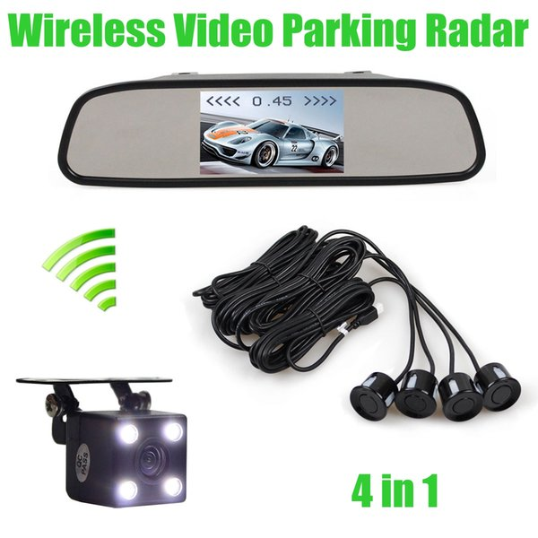 Wireless Video Parking Radar 4 Sensors 4.3 Inch Car Mirror Monitor + 4 x LED Car Rear View Camera Parking Assistance